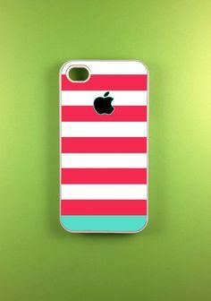 Iphone 4 Case - Pink Blue Strip Iphone Case,Iphone 4s Case. $14.99, via Etsy.