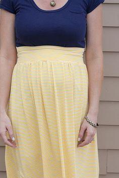 high-waisted, homemade maternity skirt