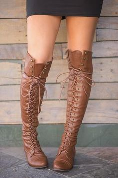 Baltimore Over The Knee Lace Up Boots (Tan) - NanaMacs.com - 1