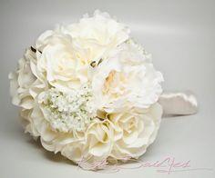 wedding arrangements With peonies | Wedding Bouquet Ivory Peony Rose Hydrangea Silk Wedding Bouquet