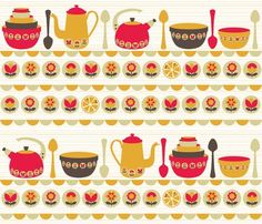 Flower fresh fabric with kitchen teapot, bowls and spoons