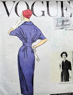 1950s CLASSY Slim Skirt Dress Day or After 5 Cocktail Party Pattern VOGUE Paris Original Featuring Gres Beaitiful Draped Bodice Bust 32 Vintage Sewing Pattern + LABEL