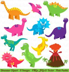 Dinosaur Clip Art Clipart, Great for Birthday Party Invitations - Commercial and Personal