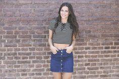 Look del día 113 jean & stripes !  Fotos: Anita Thomas Ph Modelo: Mica Zaffaroni Estilimo: Agustina Arca  Pelo y makeup: Can Grondona Makeup