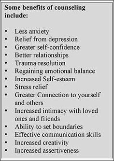 Some benefits of counseling
