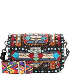VALENTINO Valentino Garavani Glam Santeria Embroidered Shoulder Bag. #valentino #bags #shoulder bags #lining #suede #
