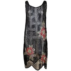 Pre-owned 1920's Deco Sequined Floral on Tulle Flapper Dress ($1,500) ❤ liked on Polyvore featuring dresses, vintage, cocktail dresses, evening dresses, floral print dress, 1920s flapper dress, vintage flapper dress, sequin cocktail dresses and black sequin dress