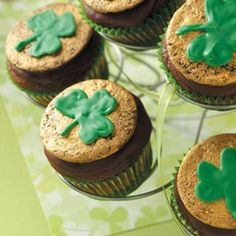 Chocolate-Mint Shamrock Cupcakes Recipe from Taste of Home