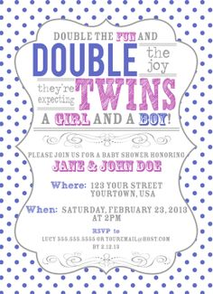 Vintage Inspired Twin Baby Shower Invitation. $15.00, via Etsy.