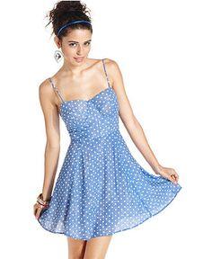 Material Girl Juniors Dress, Sleeveless Polkadot Bustier - Juniors Dresses - Macy's