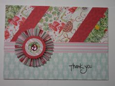 Thank You card made from left over scraps of Christmas paper