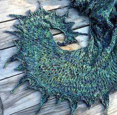 Voodoo Shawl pattern by Boo Knits in Black Cat Fibers Labradorite. Made by Antoinette of Black Cat Fibers.  blackcatfibersllc.etsy.com