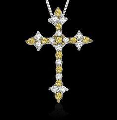 1.50 cts. yellow canary diamonds cross pendant necklace