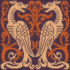 Dragons | Chart for cross stitch or filet crochet.