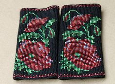 Arm Wrist Warmers Beaded Red Poppies Unique Handmade by Daidija
