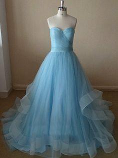 Long Light Blue Strapless Prom Dress