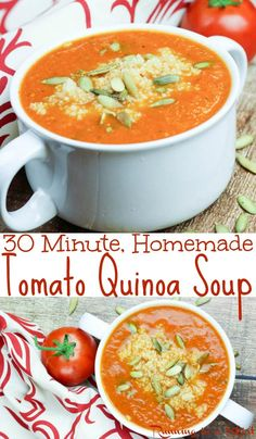 Healthy 30 Minute Tomato Quinoa Soup recipe - vegan friendly, dairy free, vegetarian and gluten free comfort foods! Clean eating, quick, simple and the perfect easy recipes packed with vegetables. Protein from the quinoa makes this a well rounded meal. Clean Eating Soup, Clean Eating Vegetarian, Vegetarian Soup, Vegetarian Recipes Easy, Vegetarian Cooking, Dairy Free Recipes, Clean Eating Recipes, Healthy Recipes, Easy Recipes