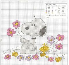 Snoopy & Woodstock with flowers cross stitch pattern:
