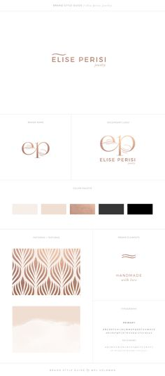 Elise Perisi Brand Style Guide Jewelry Brand Design Mel Volkman St Augustine Graphic Design Web Design Modern Brand Rose Gold