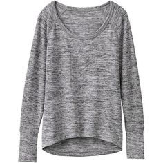 Athleta Women No Sweatin' It Sharkbite Top Size L Tall (1 265 ZAR) ❤ liked on Polyvore featuring tops, sweaters, shirts, long sleeves, grey, extra long sleeve shirts, tall tops, long sleeve tops, grey top and athleta