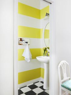 wide stripes painted in bold yellow horizontally {Paint It Monday}