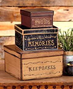 Stackable Vintage Box Sets Delivered in 10 business days The Stackable Vintage Box Set disguises storage as quaint country art. The rustic finish makes each paperboard box look well loved. Three gradu