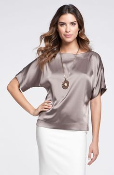 Women's St. John Short-sleeve tops On Sale Collection Kimono Sleeve Satin Blouse – Lyst Blouse En Satin, Blouse Sexy, Satin Top, Satin Blouses, Tunic Blouse, Mode Outfits, Chic Outfits, Fashion Outfits, Womens Fashion
