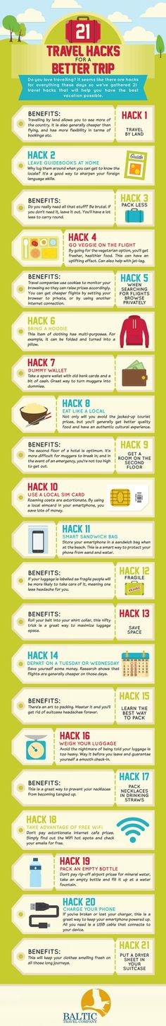 21 Travel Hacks for a Better Trip #infographic #Travel #Hacks