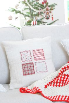 minimalist patchwork cushion, do with Christmas patterns