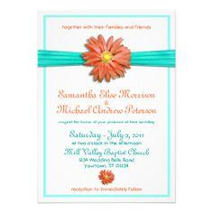 Coral Teal Gerbera Daisy Wedding Invitation