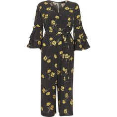 d3d99b6672ac River Island Petite black floral spot frill jumpsuit ( 120) ❤ liked on Polyvore  featuring