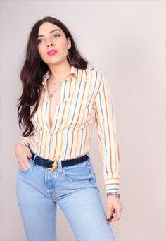Vintage 70s Stripe Print Long Sleeve Blouse