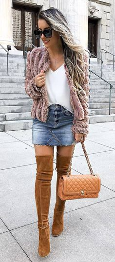 trendy outfit / fur jacket + white top + bag + denim skirt + brown over the knee boots