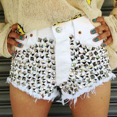 Wunderlust White Frayed Studded Shorts