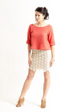 Coral Sweater by KandisIvy on Etsy, $45.00 Coral Sweater, White Lace Skirt, Skirts, Sweaters, Etsy, Shopping, Fashion, Moda, La Mode