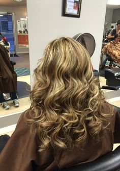 A medium brown with all over heavy blonde highlights! Heavy Blonde Highlights, Medium Brown, Cosmetology, Messy Hairstyles, Don't Care, Hair Ideas, Bohemian, Long Hair Styles, Makeup