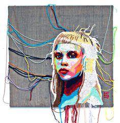 Crochet portrait of @DieAntwoord's Yolandi: #crochet #art #fiberart #iloveyarn #portrait