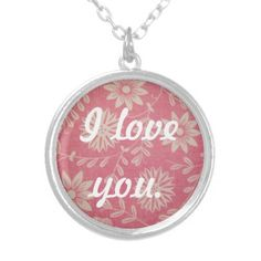 I Love You Pink and White Floral Necklace  Buy here: http://www.zazzle.com/i_love_you_pink_and_white_floral_necklace-177262609708201001