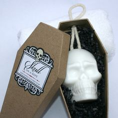 'Skull-On-A-Rope'. Soap on a rope in a coffin box by dembones on Etsy.