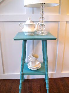 I love this color I may do the same for my nightstands. Cloudburst by Sherwin Williams  Favorite Paint Colors: furniture