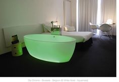 A chromotherapy bathtub. You dial up the colour you want and then soak in it. When I was a kid we used to bathe in one of the colours used for dying Easter eggs when we had our bath that night. Ahead of our time? I think so.