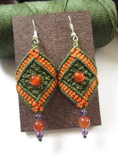 Green&Orange Macrame Earrings with Gemstone by PapachoCreations, $24.00