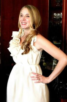 Baby Shower Dress Maternity Ruffled Below Knees Patisserie  Handmade Custom Ivory or White Womens. $82.00, via Etsy.