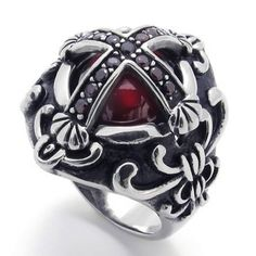 KONOV Jewelry Vintage Stainless Steel Cubic Zirconia Cross Biker Mens Ring, Red Black Silver (Available in Size 7, 8, 9, 10, 11, 12): KONOV Jewelry: Jewelry