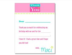 Articoli simili a BW Elegance Personalized Thank You / Note Card (DIY/ Printable) su Etsy Diy Note Cards, Thank You Note Cards, Thank You So Much, American Girl Doll Room, Birthday, Handmade Gifts, Printable, Etsy, Kid Craft Gifts