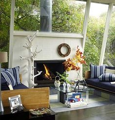 Nautical Living Room--love the windows!