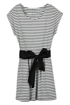 Bowknot Striped Dress. Description Striped dress, featuring scoop neck and sleeveless styling, a elastic waist with contrast bowknow embellishment, zippere back, and in slim fit. Fabric Cotton Blends Washing Cool hand wash with similar colours, do not tumble dry. #Romwe