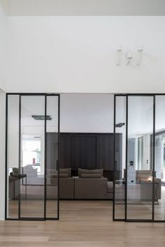 Sliding doors are also practical and now very popular. For you who have small spaces at home, sliding doors are a perfect choice. Here are some sliding doors ideas for your beautiful home. Check these out Interior Architecture, Interior And Exterior, Interior Design, Exterior Doors, Steel Doors, Deco Design, Design Trends, Innovation Design, Windows And Doors