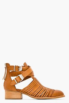 Jeffrey Campbell Tan Leather Stinson Everly Strapped Boots for women | SSENSE