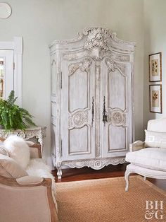 Schoolhouse Sweetheart - Kimberlee Anderson - Schoolhouse Sweetheart white armoire in living room - Shabby Chic Living Room Furniture, French Cottage Decor, Country Decor, White Armoire, French Country Living Room, Country Bedroom, Bedroom Decor, Country House Decor, Shabby Chic Furniture